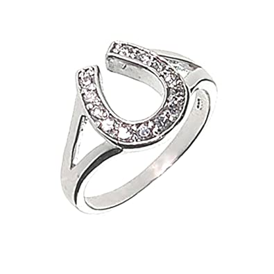 Amazoncom Lucky Horseshoe Ring Crystal and Silver Western