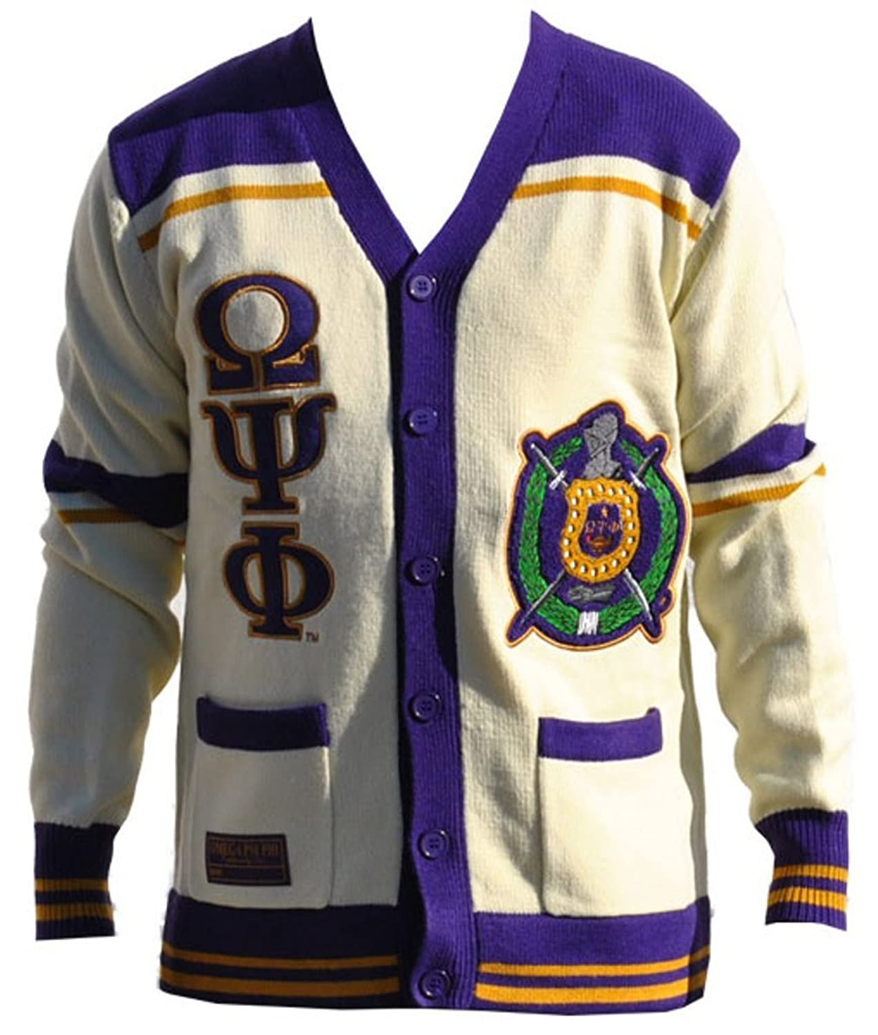 Omega Psi Phi Fraternity Mens Wool Sweater Goldpurple At Amazon