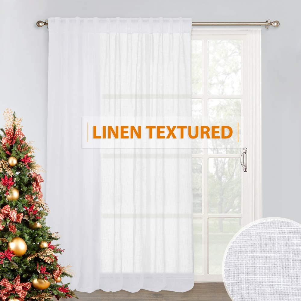 Sliding Glass Door Curtain Sheer - Extra Wide Voile Panels Semi Linen Textured Fabric for Patio Door Shade High Ceiling Window Living Room Sunroom Sitting Area Dining, 100 inches Wide x 84 inches Long