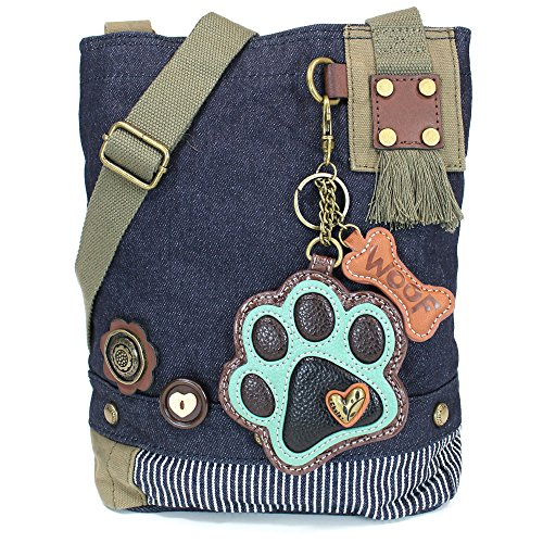 Print Canvas Cross Body (Chala Patch Cross-Body Women Handbag, Canvas Messenger Bag, Paw Print Teal - Denim)