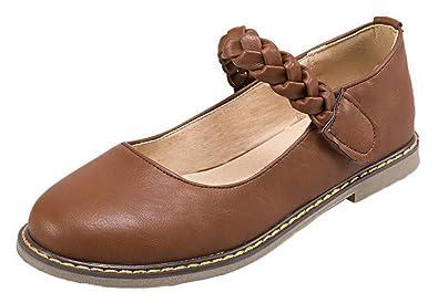 AgooLar Damen PU Niedriger Absatz Rund Zehe Rein Haken-und-Loop Pumps Schuhe, Rot, 40