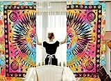 Sophia Art Indian Sun&moon Mandala Tulle Voile Door Window Curtain Drape Panel Sheer Scarf Valances (Multi) For Sale