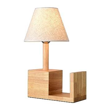 XIANGYU Lámpara de cabecera de dormitorio de madera de ...