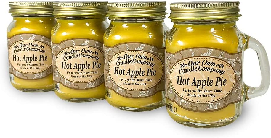 Our Own Candle Company Hot Apple Pie Scented Mini Mason Jar Candle, 3.5 Ounce (4 Pack)