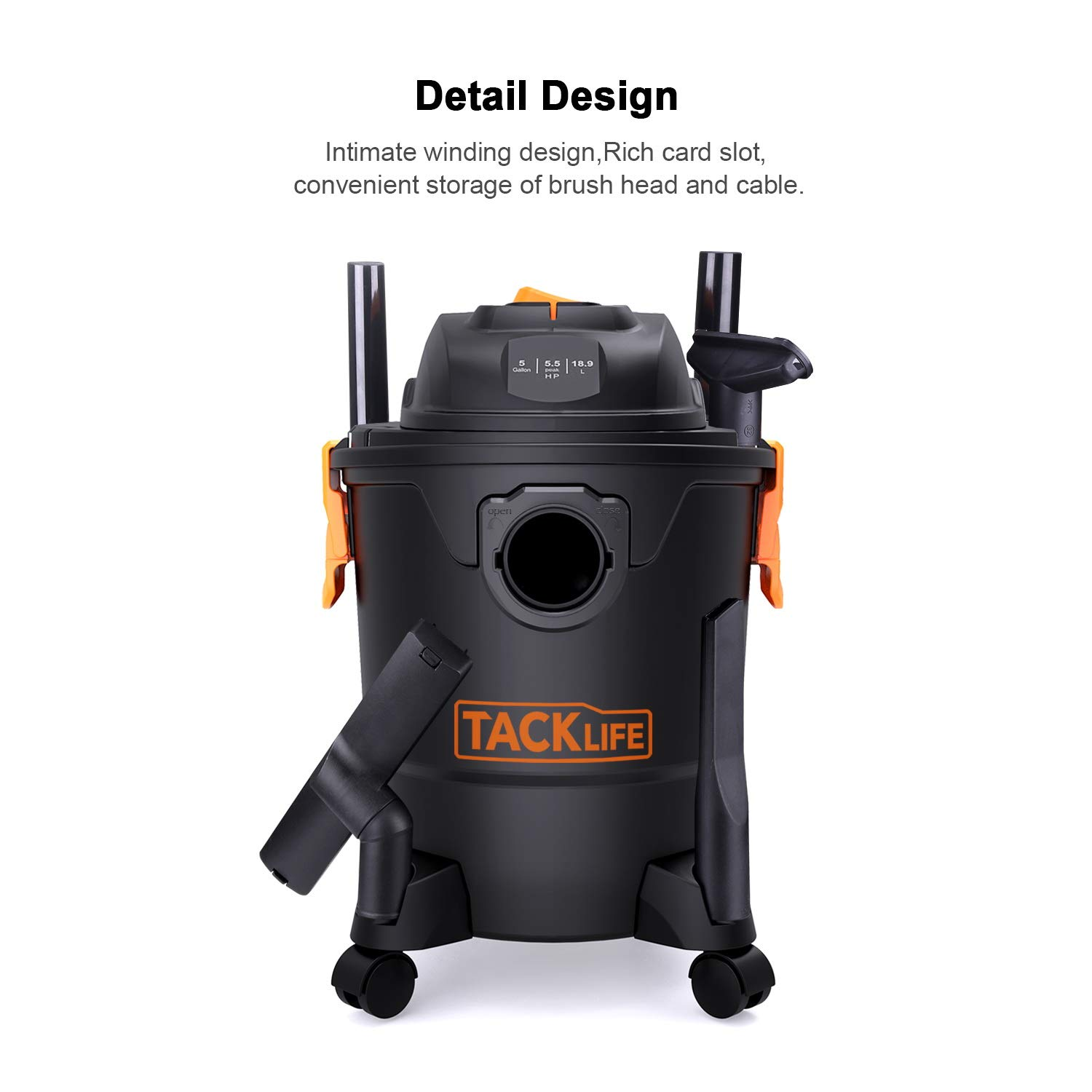 TACKLIFE Wet Dry Vacuum, 5 Gallon, 5.5 Peak HP with 20 FT Clean Range, 4-Layer Filtration System and Safety Buoy Technology for Dry/Wet/Blowing, Multipurpose Accessories Included - PVC01A by TACKLIFE (Image #8)