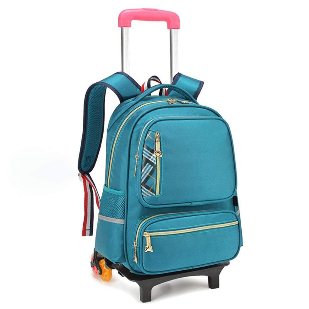 XHHWZB ローリングバックパック スクールバックパック 車輪付き ローリングスーツケース 旅行かばん 新学期用ブックバッグ 男の子と女の子用 B07HH72YJ1 グリーン