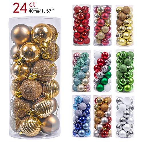 Valery Madelyn 24ct 40mm Essential Copper Gold Basic Ball Shatterproof Christmas Ball Ornaments Decoration,Themed with Tree Skirt(Not Included)