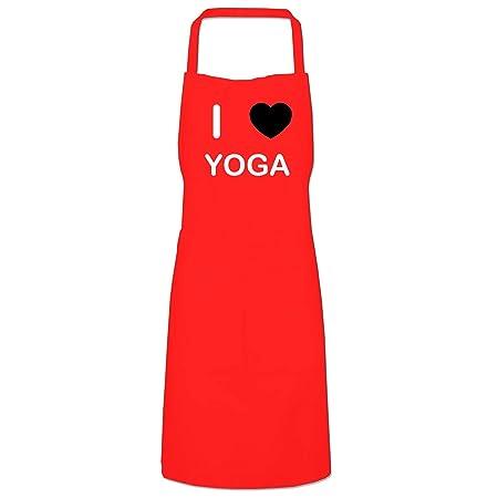 I Love Yoga - Delantal babero de cocina rojo: Amazon.es: Hogar