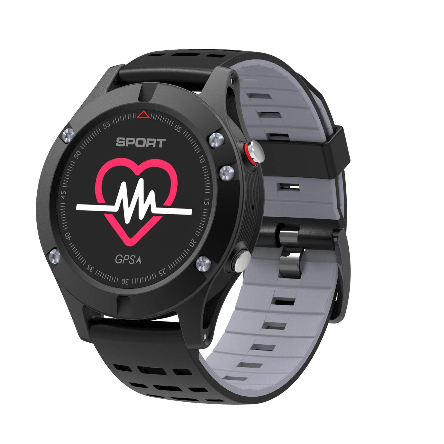 Smart Watch, Bluetooth Smart Watch, Outdoor Sports Fitness Step Counter Smart Watch, GPS Positioning, Sleep Analysis, Compatible with Android and iOS Platforms (Color : Black Gray)