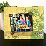 Girl Scouts Journey green jeweled botanical gift handmade magnetic picture frame holds 5' x 7' photo 9' x 11' size