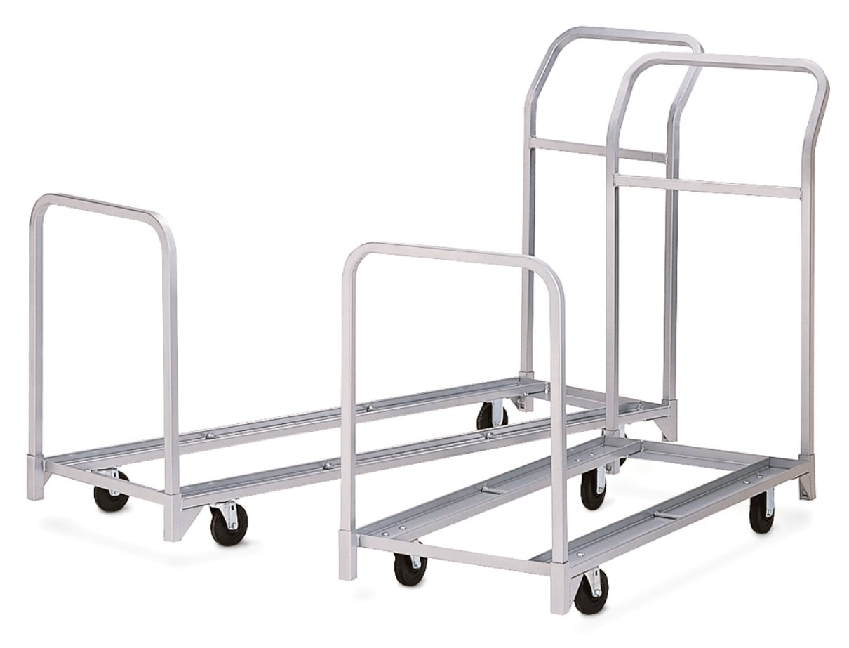 67 Length x 22 Width Raymond Folded and Stacked Chair Tote with Hard Rubber Casters 300 lbs Load Capacity