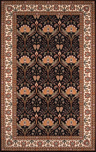 Momeni Rugs PERGAPG-12CHR5080 Persian Garden Collection, 100% New Zealand Wool Traditional Area Rug, 5' x 8', Charcoal (Runner Persian Collection Garden)