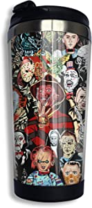 Harataki Horror Movie Tumbler Cup 14 Oz Stainless Steel Coffee Travel Mug Insulated With Flip Lid For Home School Party 400ml