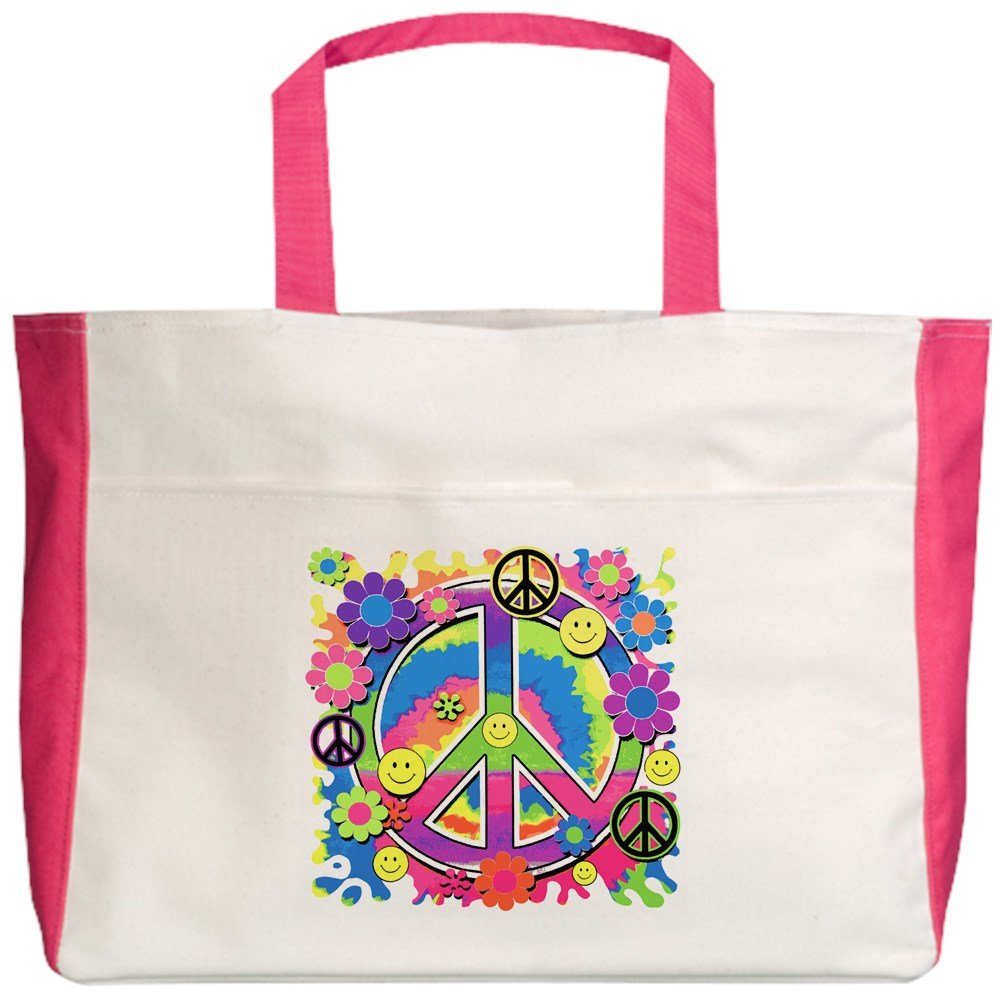 2-Sided Royal Lion Beach Tote Neon Smiley Face Floral Peace Symbol