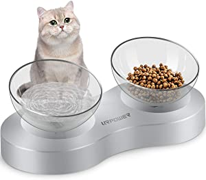 URPOWER Elevated Cat Bowl 20 Degree Tilted Raised Cat Food Bowls Stress Free Advanced Food Grade Material with Anti Slip Stand Pet Comfort Feeding Bowls and Water Bowls for Cats, Small Dogs and Pets
