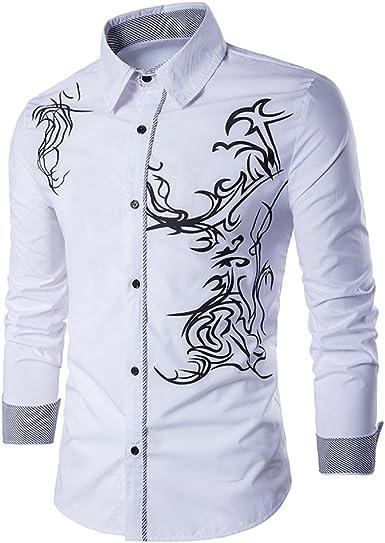 Uniqstore Camisa de Vestir con Estampado de dragón de Hombre: Amazon.es: Ropa y accesorios