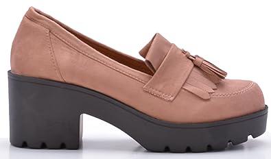 Altamoda Zapato Mocasines con plataforma de mujer en antelina color nude SS18 (36)