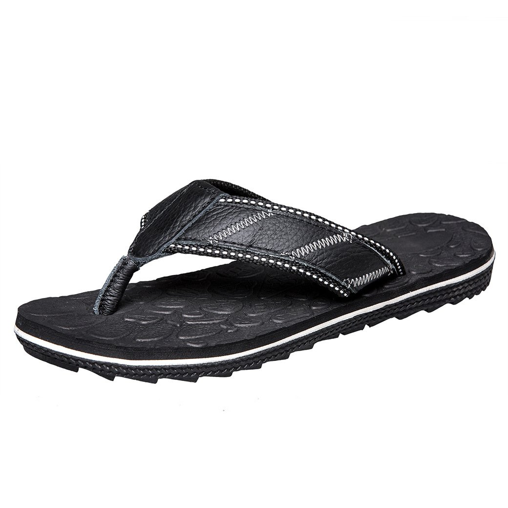 JIONS Men's Casual Flip Flops Slippers, Comfortable Lightweight Leather Sandals, Unisex Beach Sandals Shoes Black 46