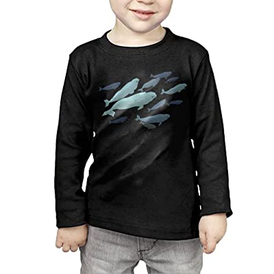 ZheuO Boys Girls Infant Beluga Whale Soft And Cozy 100 Cotton Tee Unisex Black