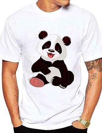 Nlife Camiseta blanca con estampado de pandas y cuello redondo de manga corta para hombres de Nlife: Amazon.es: Ropa y accesorios