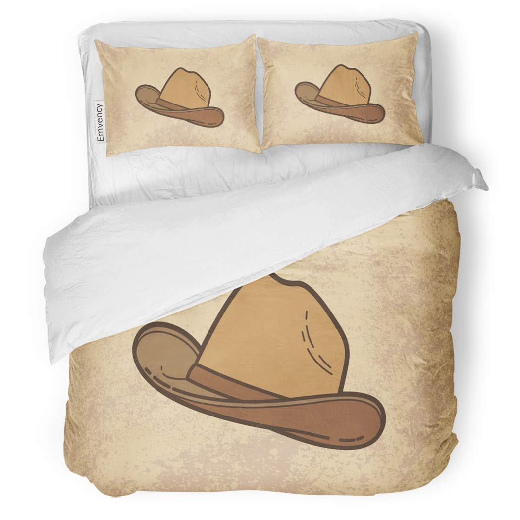 SanChic Duvet Cover Set Cow Cowboy Hat Vintage America American Boots Boy Decorative Bedding Set with 2 Pillow Shams Full/Queen Size