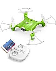 DoDoeleph Syma X21W WiFi FPV Mini Drone with Camera Live Video LED Nano Pocket RC Quadcopter with GYRO App Control Green