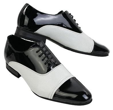 mens noir en cuir verni blanc design italien brillant souligné chaussures  lacées intelligent 02368af6ba8e