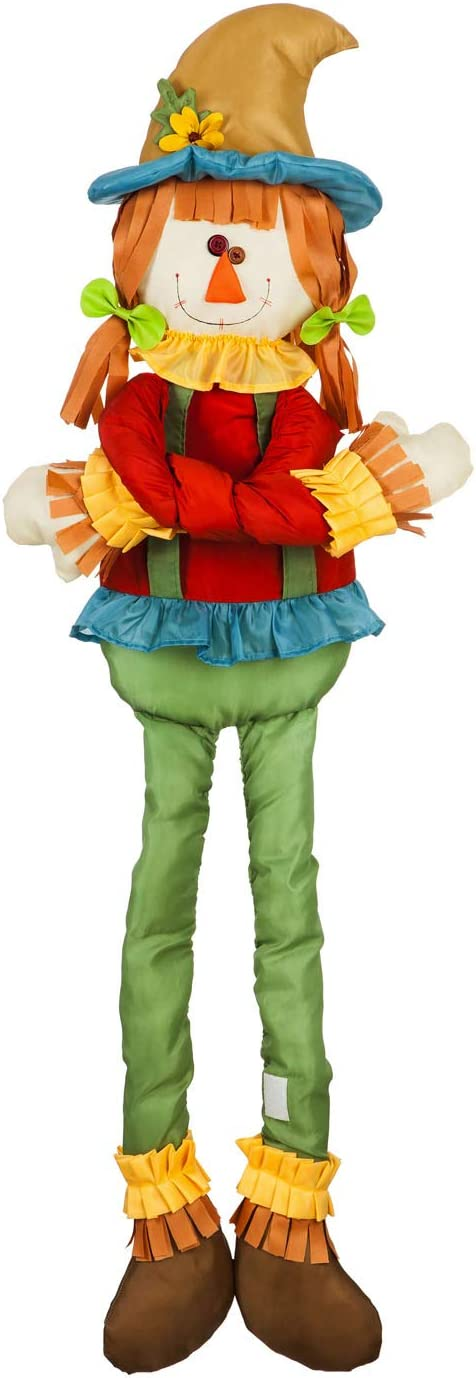 Evergreen Flag Beautiful Autumn Plush Girl Scarecrow Post Hugger Décor - 3 x 11 x 44 Inches Fade and Weather Resistant Outdoor Decoration for Homes, Yards and Gardens