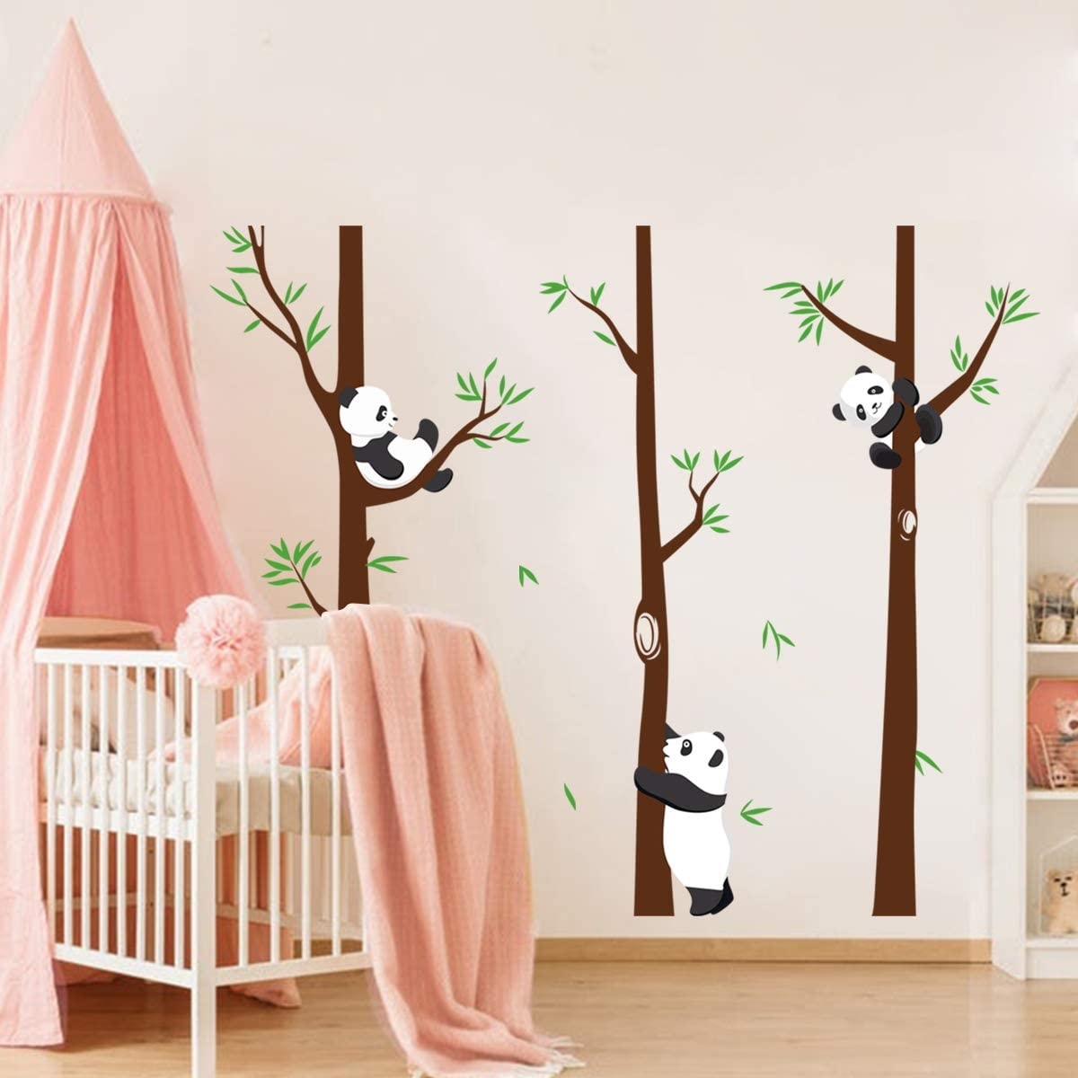 decalmile Panda and Large Tree Wall Stickers Kids Room Wall Decals Baby Nursery Childrens Bedroom Playroom Wall Decor Height: 171cm