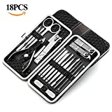 18PCS Portable Manicure Pedicure Set YOUYOUTE Professional Stainless Steel Nail Clippers Tools Nail kit Grooming kit Foot Pedicure Set Facial tools Fingernail Toenail Clippers with Travel Case Black