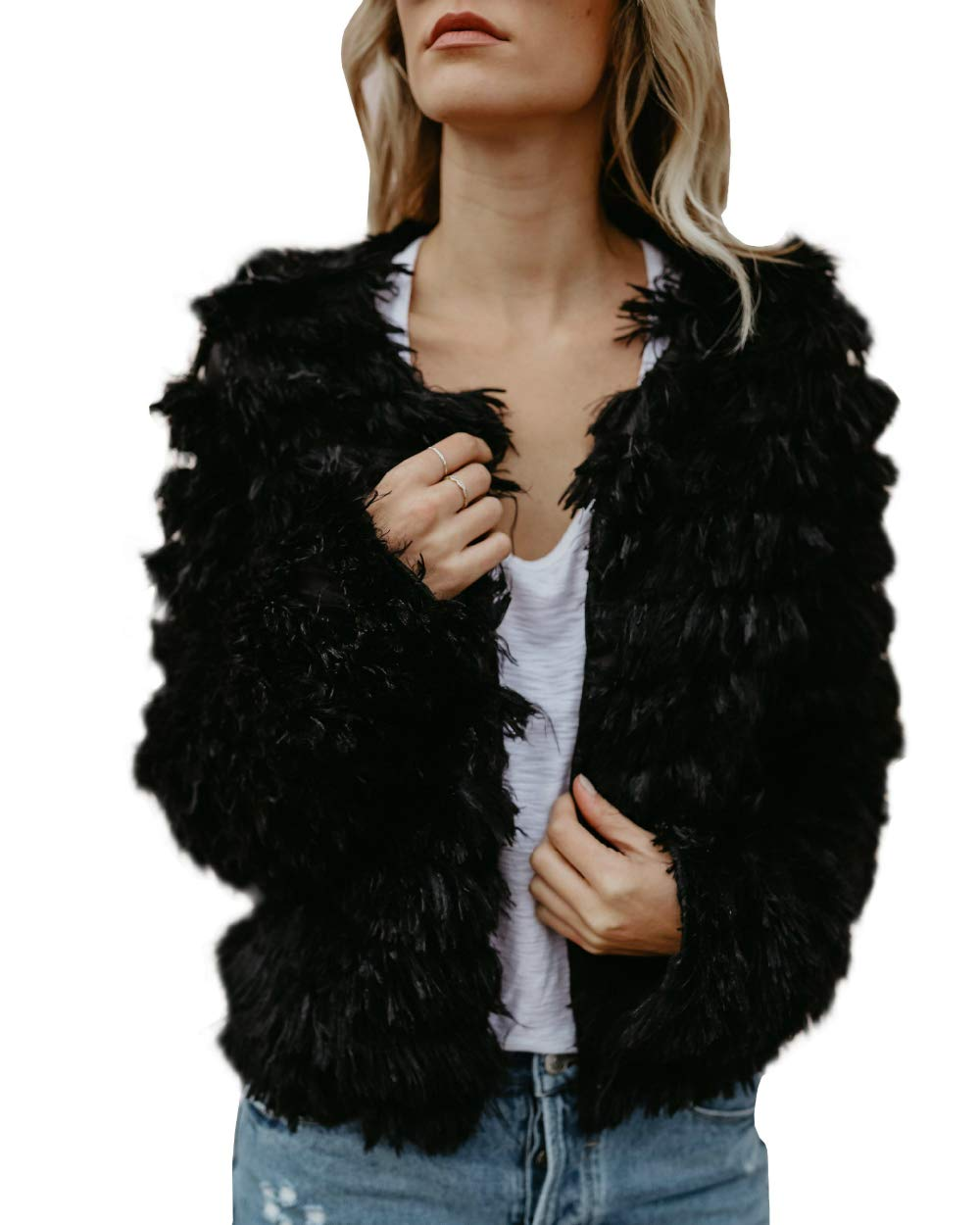 Womens Open Front Faux Fur Cardigan Vintage Parka Shaggy Jacket Coat Black by SySea
