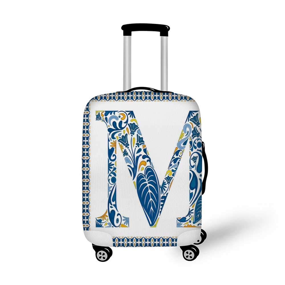 Letter M Stylish Luggage Cover,Language Writing School Themed Name Initials in Fire Background Steamy Print Decorative for Luggage,M 19.6W x 28.9H