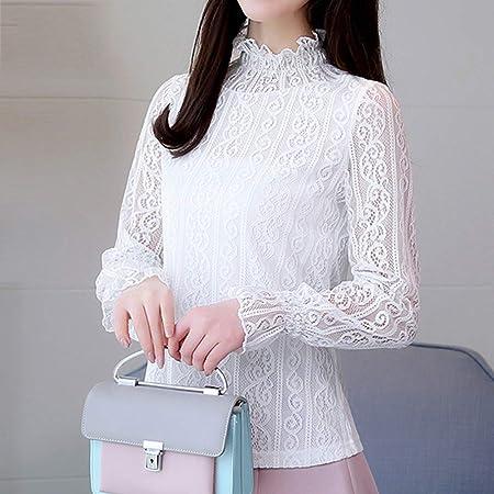 KCMCY Blusas Blusas De Mujer Blusa De Encaje De Mujer Blusa De Manga Larga Camisa De Manga Larga De Mujer con Encaje De Mujer Blusa Blanca De Mujer: Amazon.es: Hogar