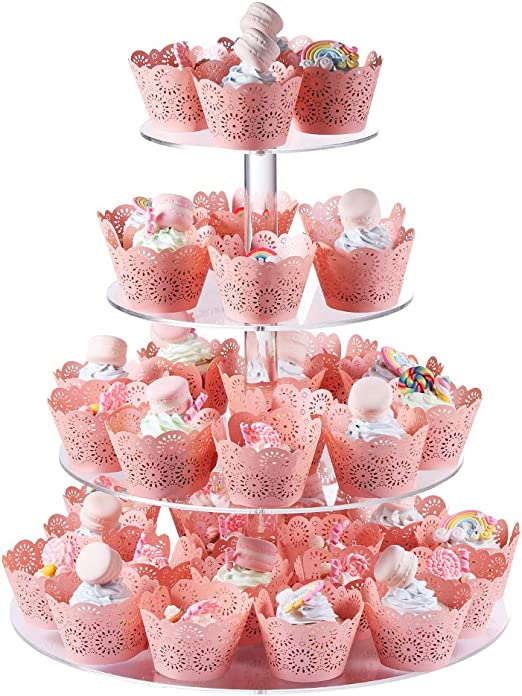 4 Tier 15 Inches Round Shape Wedding Party Tree Tower Thick Quality Acrylic Cupcake Display Stand Transparent Boxalls Cupcake Stands