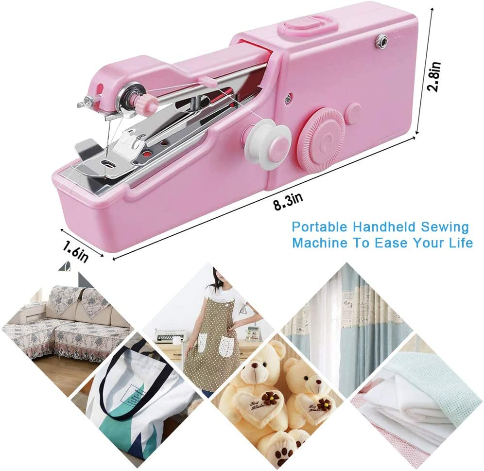 Mini Sewing Machine,Portable Electric Handheld Sewing Machine Household Sewing Tool for Kids Clothing,Fabric,DIY Clothes,Home,Travel,Kids /& Adult 31Pcs