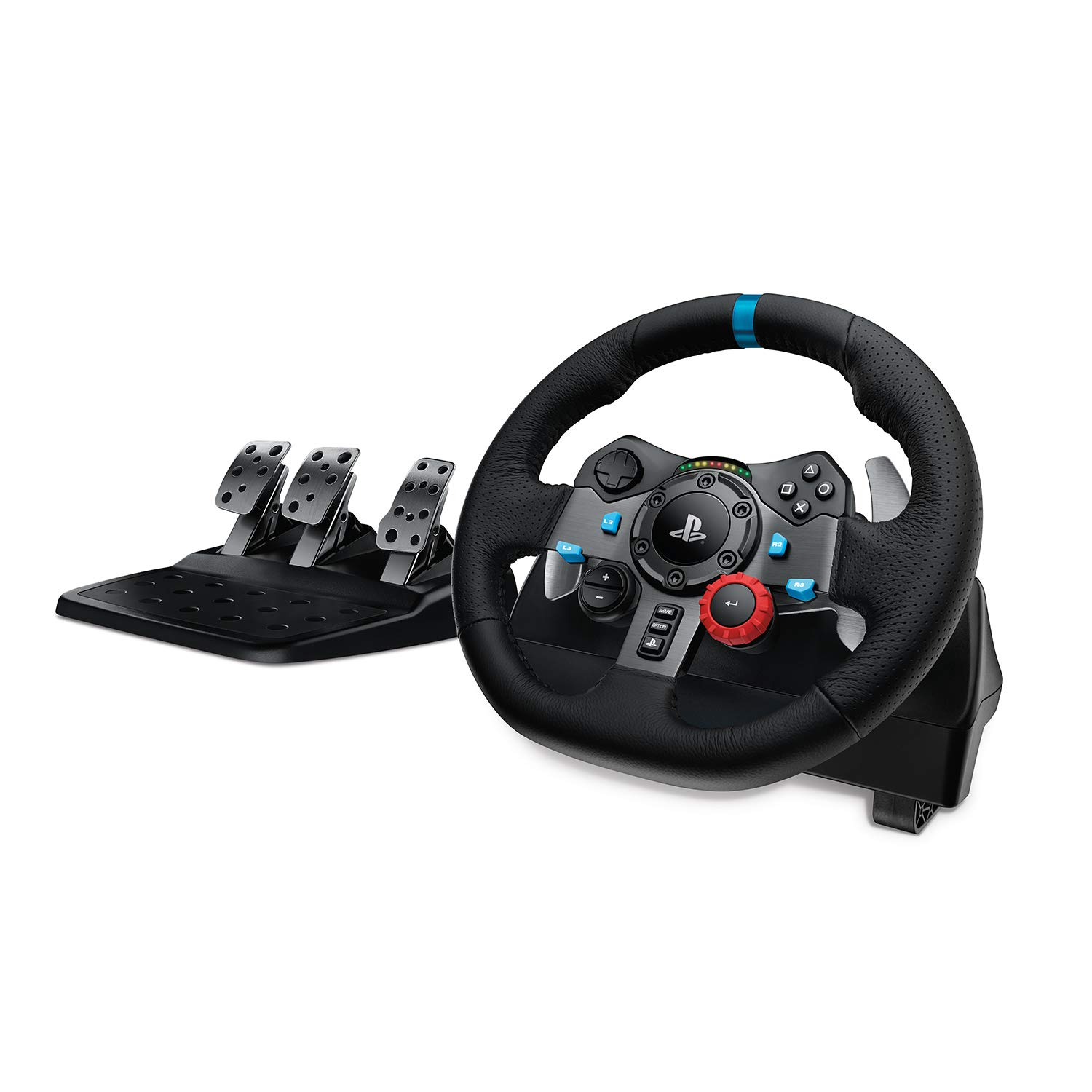 Logitech G29 Driving Force Racing Wheel and Floor Pedals, Real Force Feedback, Stainless Steel Paddle Shifters, Leather Steering Wheel Cover for PS5, PS4, PC, Mac - Black