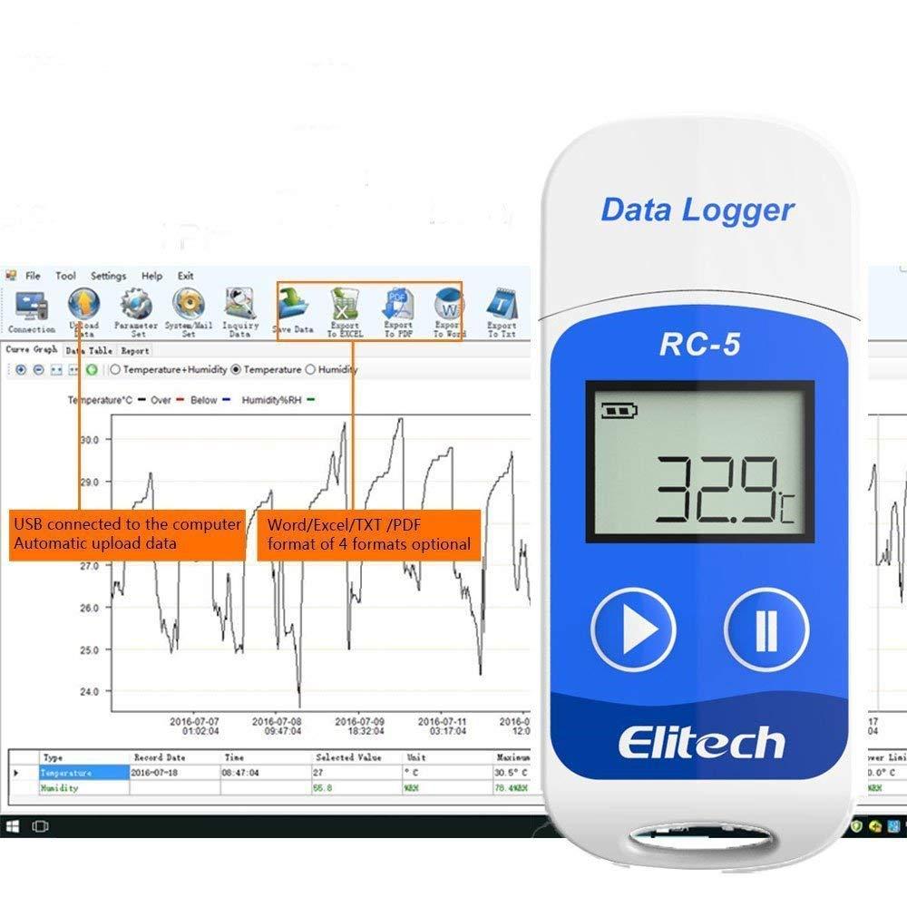 Elitech Mini USB Enregistreur de donn/ées de temp/érature Haute Pr/écision Capteur RC-5 32000 points de Capacit/é denregistrement