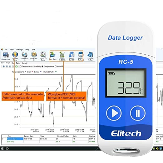 Elitech Registrador de Datos de Temperatura USB, Registrador de ...