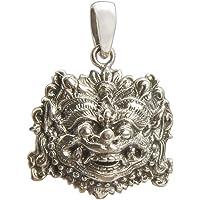 Style Ethnique–Suspension Rouille cire élaboré en argent de loi, visage de Barong (bijouterie de rouille cire Argent Ethnique et artisanale)