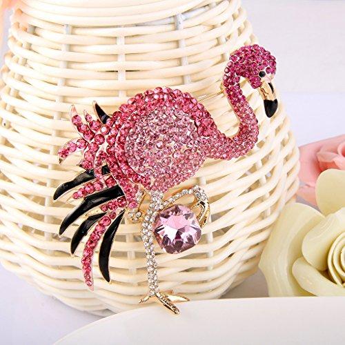 EVER FAITH Women's Austrian Crystal Graceful Enamel Flamingo Bird Brooch Pink Gold-Tone by EVER FAITH (Image #2)