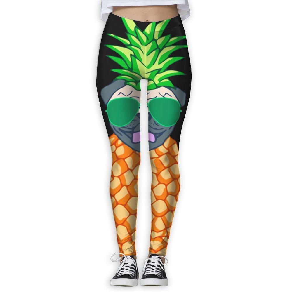 Cindly Pineapple Glasses Pug Womens Slim Leggings