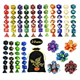 QMAY 140PCS Polyhedral Dice, 20 Color DND Dice Role Playing Dice for Dungeon and Dragons DND RPG MTG Table Games Dice, D4 D8 D10 D12 D20