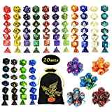 QMAY DND Dice Set, 140PCS Polyhedral Game Dice, 20 Color Double-Colors DND Dice Role Playing Dice for Dungeon and Dragons DND RPG MTG Table Games Dice D4 D8 D10 D12 D20