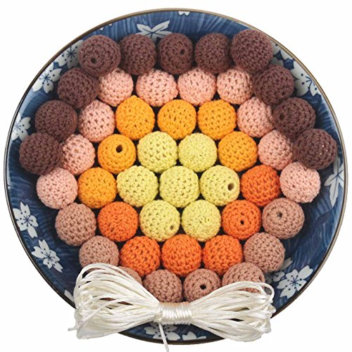 Crochet Teething Beads 50PCS 20MM Covered Thread Decoration Baby Carriage Bead Round Jewelry Kit, Khaki and Coffee Series, with Cord and Needle