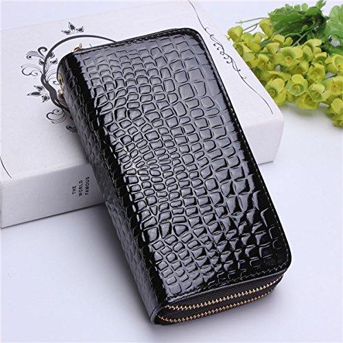 ACHKL Women Crocodile Clutches Ladies Patent Leather Long Wallet Elegant Double Zipper Purse Card Holder Phone Bags (Color : Color Black)