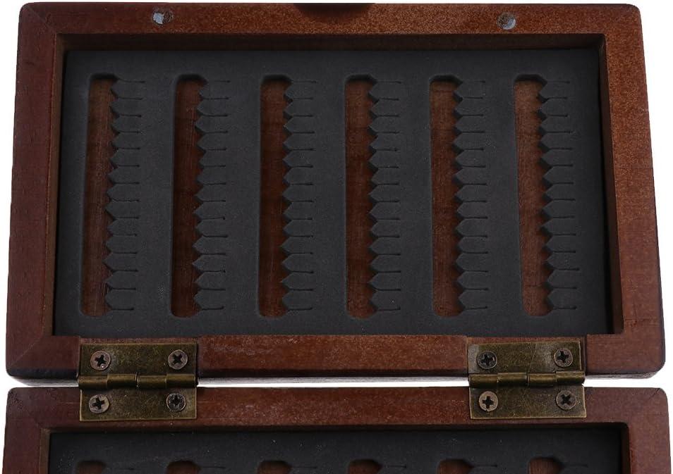 SM SunniMix Holz Fliegenbox Schlitz Schaum Fliegenfischen Box Fliegen Fischk/öder Aufbewahrungskoffer