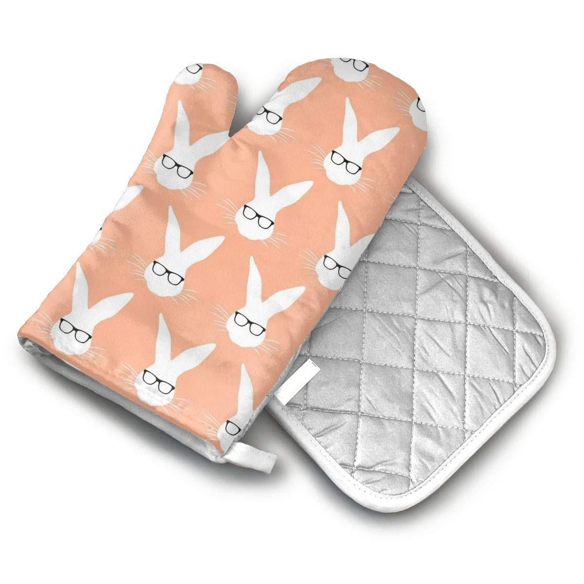 ZYZILYSBS Geeky Bunny Salmon Oven Mitts and Pot Holders Soft Cotton Lining with Non-Slip Surface Heat Resistant Oven Gloves for Kitchen BBQ Cooking Baking Grilling Microwave