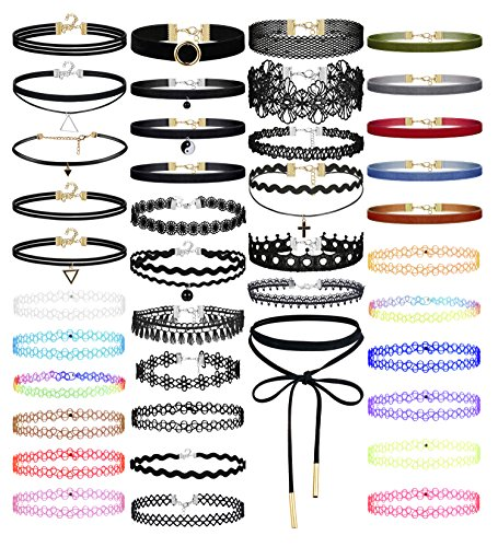 Choker Color (Jstyle 40PCS Choker Set Black Velvet Choker Necklace Set Classical Gothic Tattoo Lace Chokers for Women Girl)