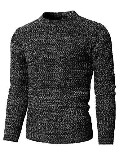 H2H Mens Casual Crewneck Color Contrast Long Sleeve Knitted Pullover Black US L/Asia XL (KMOSWL0203)