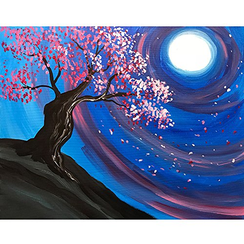 DIY 5D Diamond Painting Dartphew [ Unique cherry blossom trees and blue night sky ] - Sewing Cross Stitch & Crafts,Creative Wall Stickers for Living room Decorating & Home(30x25cm) ()